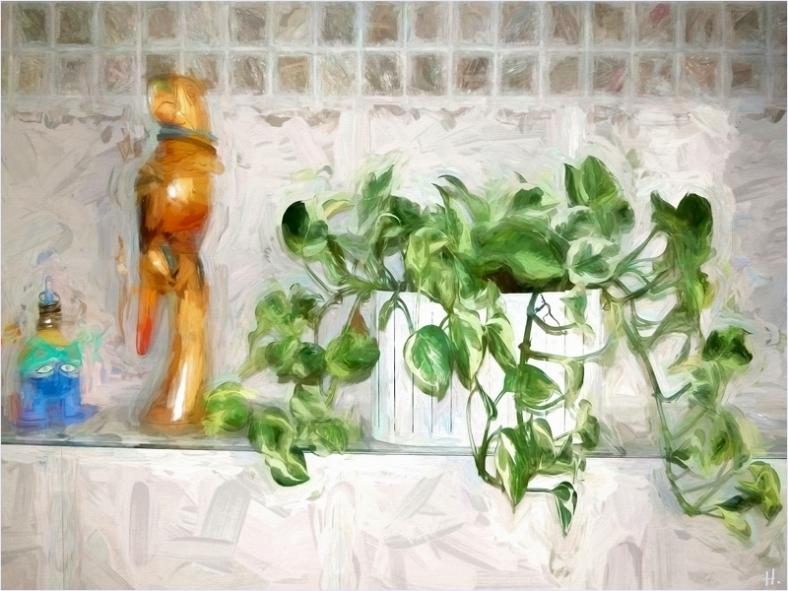 2021-03-09 zuhause Zimmerpflanze Efeutute 1 (m. Topaz-Art-Filter bearb.)