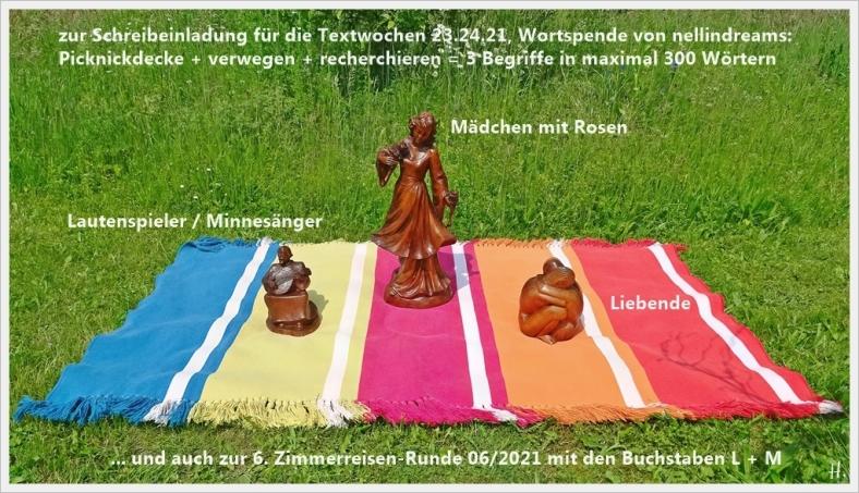 2021-06-08 LüchowSss Garten 3 Holzskulpturen f. Picknickdecken-Etüde + Zimmerreise m. L+M (Titelbild beschriftet)